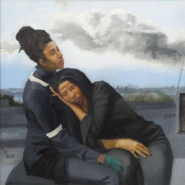 Mourning Twins -  oil on canvas 40x40 -Sylvia Maier
